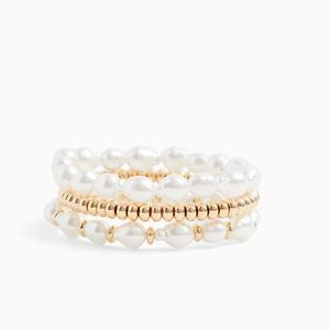 Gold Toned Faux Pearl Set of 3 Stretch Bracelets